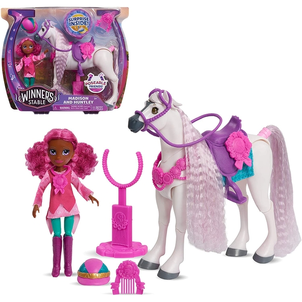 Image of Winner's Stable Doll and Horse Madison and Huntley Playset