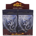 Pack of 12 Silver Dragon Incense Cones by Anne Stokes