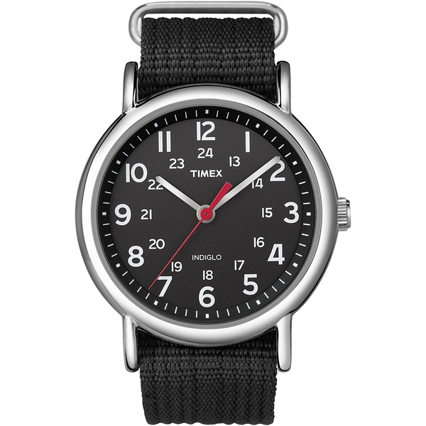 Timex T2N647 Unisex Weekender Watch with Black Fabric Strap