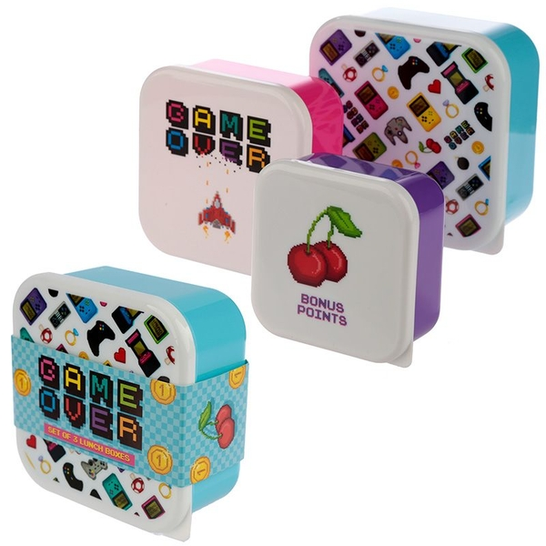 Game Over Design Set of 3 Plastic Lunch Boxes
