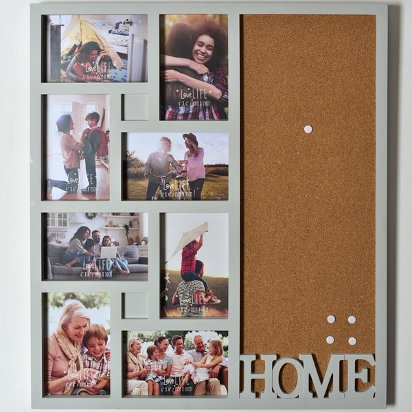 Love Life Collage Photo Frame with Cork Board - Home