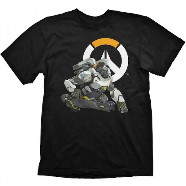 Overwatch Men's Gorilla Winston Logo Small Black T-Shirt
