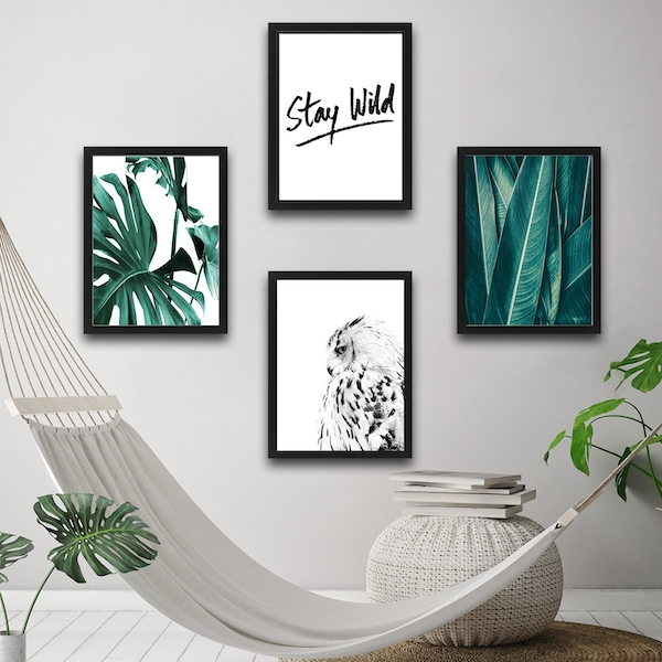 Stay Wild Set 4 Multicolor Decorative Framed Painting (4 Pieces)