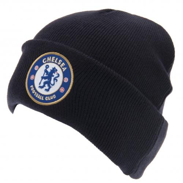 Chelsea FC Turned Up Knitted Hat Navy