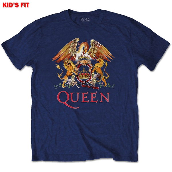 Queen - Classic Crest Kids 5 - 6 Years T-Shirt - Blue