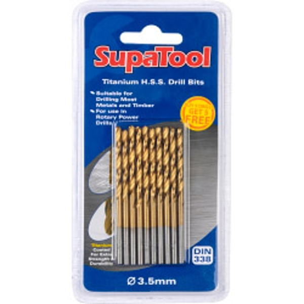 SupaTool Titanium Coated HSS Drill Bits 3.5x70mm 10 Piece