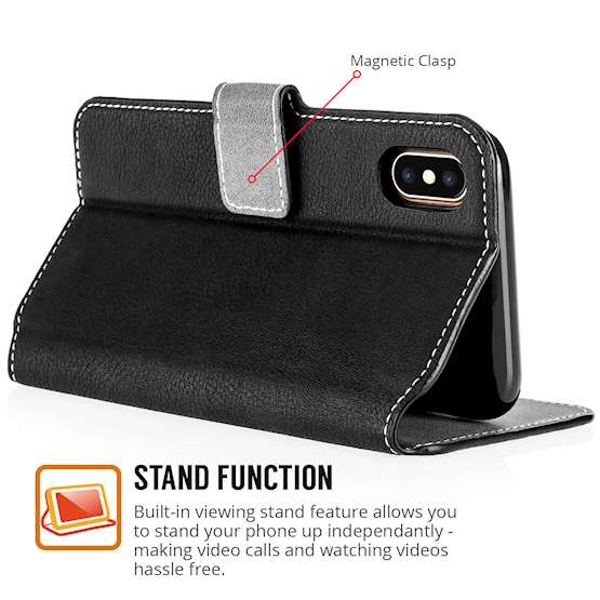 Apple iPhone X Slim PU Leather Stand Wallet Case - Black - Image 3