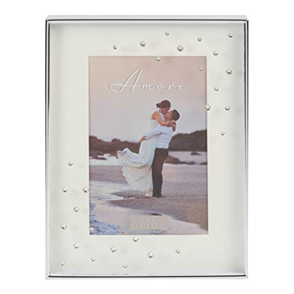 """4"""" x 6"""" - AMORE BY JULIANA? Silver Plated Frame with Crystal"""