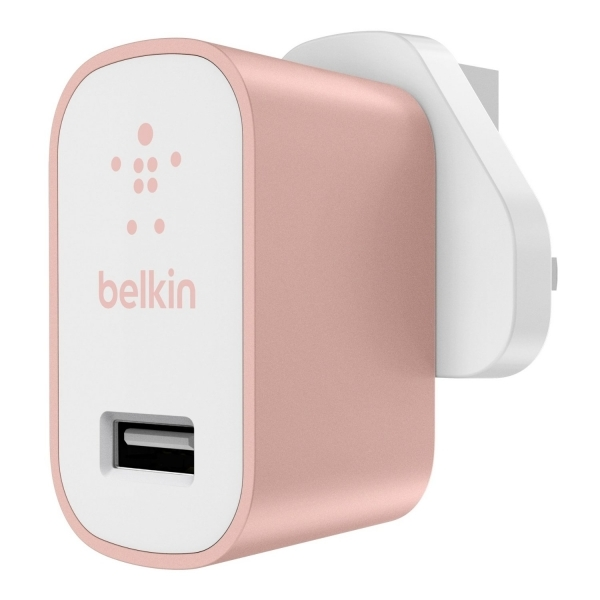 Belkin Premium Ultra-Fast 2.4 A USB Mains Charger Rose Gold UK Plug