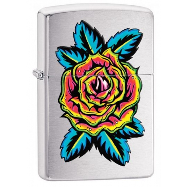 Zippo Neon Rose Classic Brushed Chrome