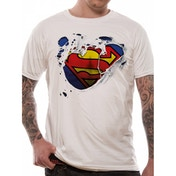 Superman - Torn Logo Men's Small T-Shirt - White