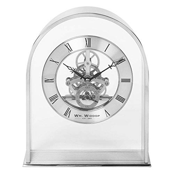 Silver Arch Mantel Clock with Skeleton Mvmnt
