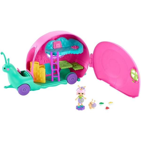 Enchantimals Slow-Mo Camper Vehicle Playset With Saxon Snail Doll Playset