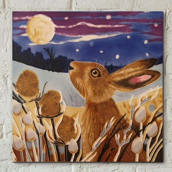 Tile 8x8 Moon Gazing Hare By Judith Yates Wall Art