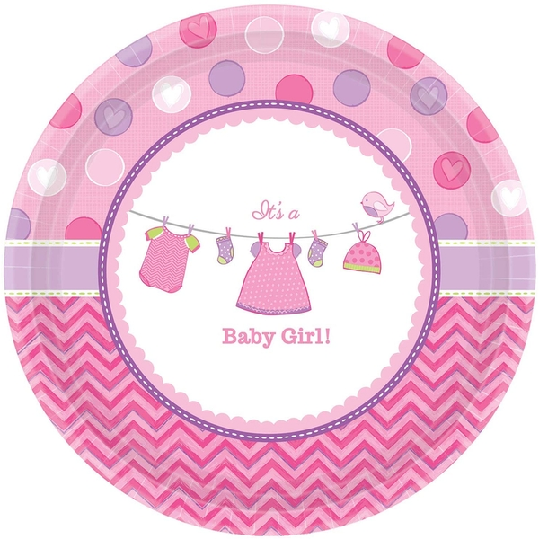 Love Baby Girl Banquet Paper Plates (Pack Of 8)