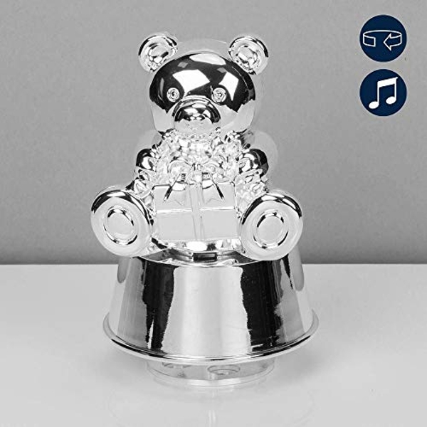 Bambino Silver Plated Muscial Teddy Money Box