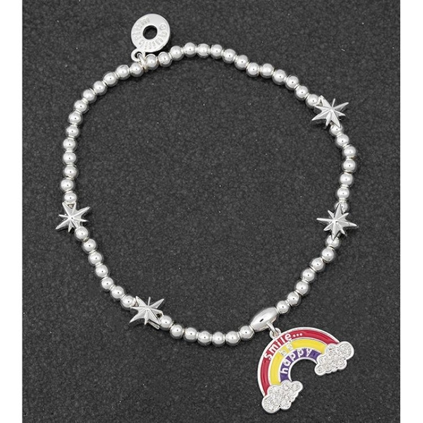 Smile Message Rainbow Silver Plated Bracelet