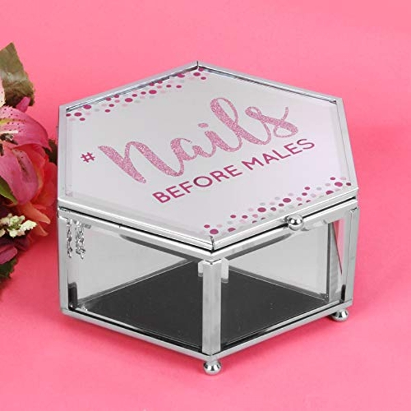 Girl Talk Glitter Mirror Trinket Box - Nails Before Males