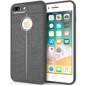 iPhone 8 Plus  Auto Camera Focus  Leather Effect Gel Case - Grey