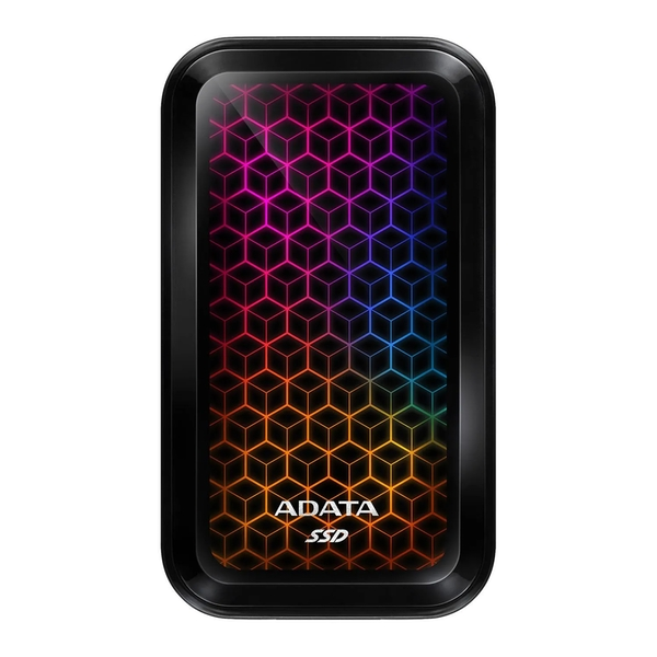 Image of ADATA SE770G 1TB External RGB SSD, USB 3.2 Gen2 Type-C (USB-A Adapter), R/W 1000/800 MB/s, Windows/Mac/Android Compatible