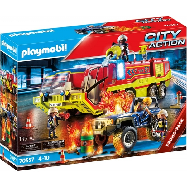 Playmobil City Action Promo Fire Engine With Truck Playset