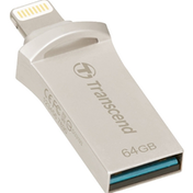 Transcend JetDrive 64GB USB 3.1 and Lightning Silver OTG USB Flash Drive for iPhone and iPad