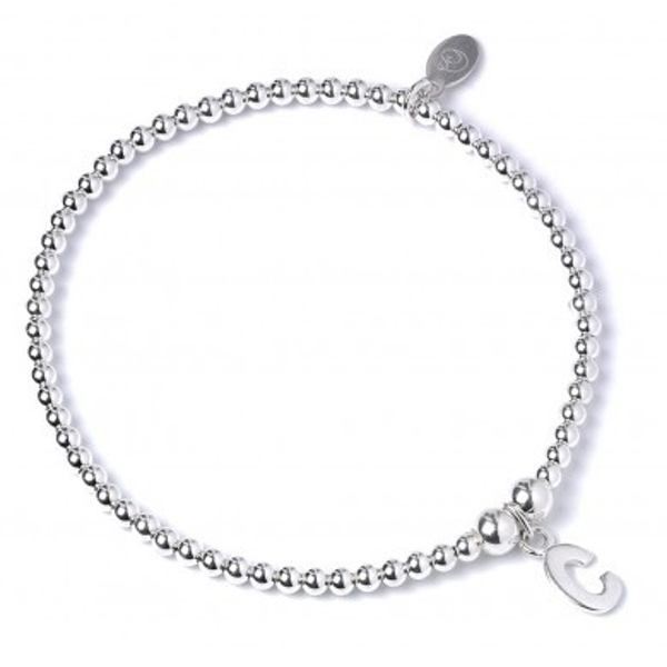 Initial C Charm with Sterling Silver Ball Bead Bracelet