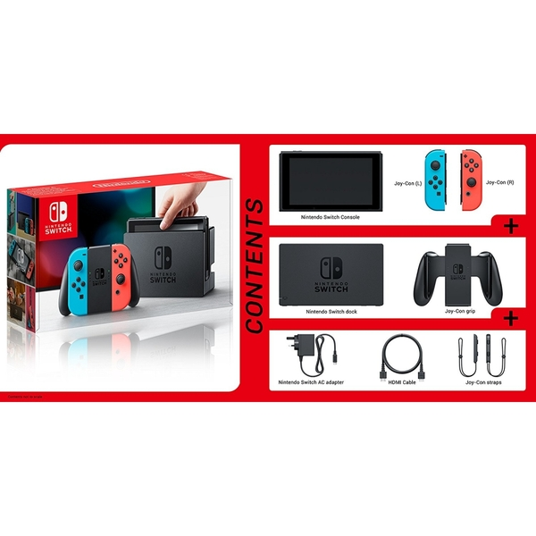 Nintendo Switch Console with Neon Red & Blue Joy-Con Controllers - Image 4