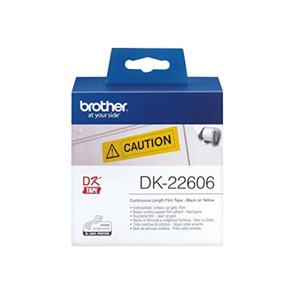 Brother DK-22606 Label Roll, Continuous Length Film, Black on Yellow, Single Label Roll, 62mm (W) x 15.24M (L), Brother Genuine Supplies