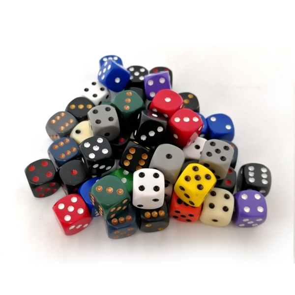 Chessex Polyhedral 12mm D6 dice: Bag of 50 Assorted Colours Opaque
