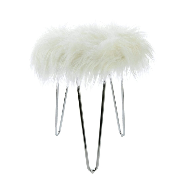 Fluffy Footstool with Chrome Legs White 43cm