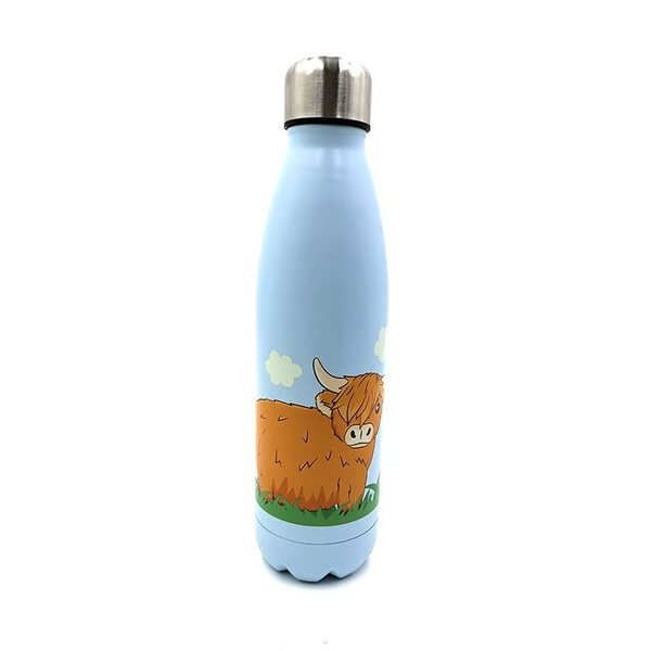 Highland Coo Cow Reusable Stainless Steel Hot & Cold Thermal Insulated Drinks Bottle 500ml
