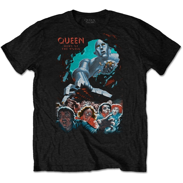 Queen - News Of The World Vintage Unisex Large T-Shirt - Black
