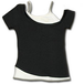 Urban Fashion 2In1 off Shoulder Women's Medium Short Sleeve Top - Black - Image 2