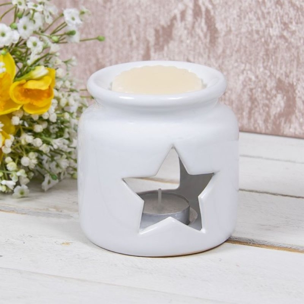 Star Ceramic Candle Holder White 10Cm By Lesser & Pavey