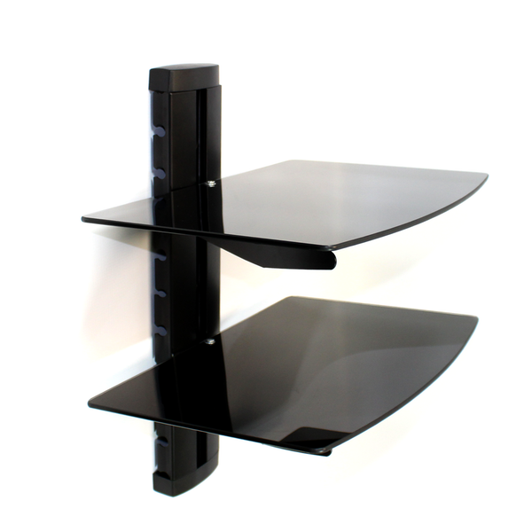 Tempered Black Glass Floating Shelf | M&W 2 Tier - Image 1