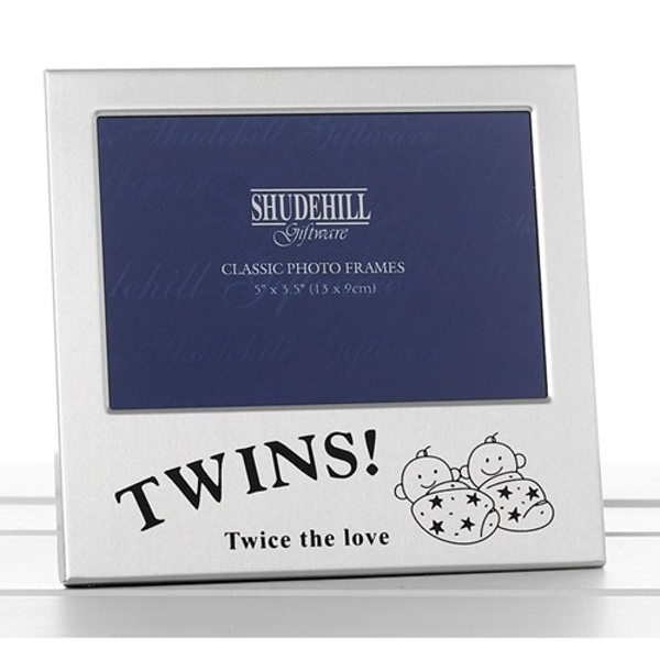 Satin Silver Occasion Frame Twins 5x3