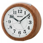 Seiko QHE157B Beep Alarm Clock with Snooze & Light Wood Finish