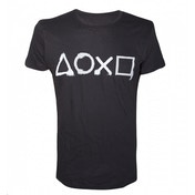 Sony Playstation Spray Painted Buttons Men's X-Large Black T-Shirt