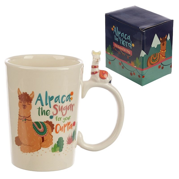 Alpaca Slogan Shaped Handle Ceramic Mug