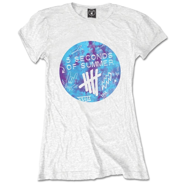 5 Seconds of Summer - Tie-Dye Scribble Logo Women's X-Large T-Shirt - White