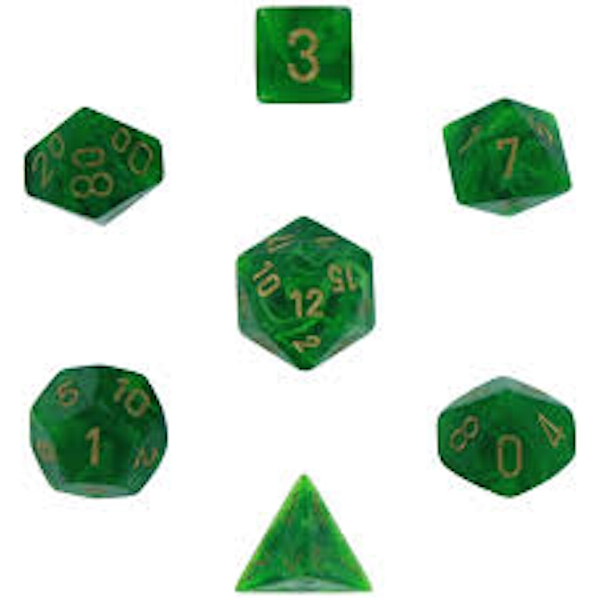 Chessex Poly 7 Dice Set: Vortex Green/gold