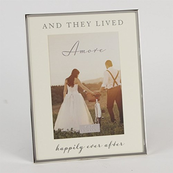 "5"" x 7""- AMORE BY JULIANA? Silver Frame - Happily Ever After"
