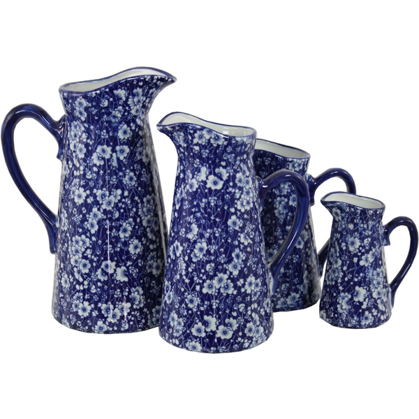 Set of 4 Ceramic Jugs, Vintage Blue & White Daisies Design