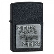 Zippo Pewter Emblem Black Crackle Windproof Lighter