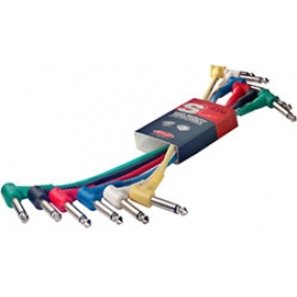 Stagg SPC015LE	Metre Angled Jack Patch Cables 6-Pack Multi Colour 15cm(6in)