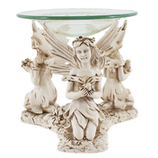 Jones Home and Gift Three Fairy Oil Burner with Glass Dish