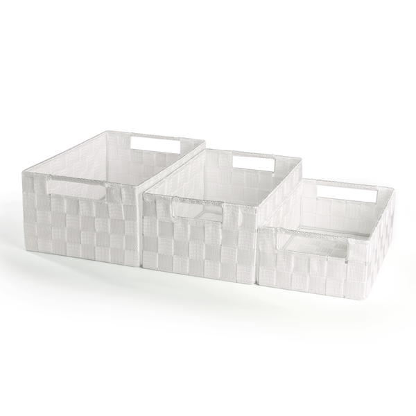 Nylon Storage Baskets 3 Pack - Large, Medium & Small | Pukkr White - Image 1