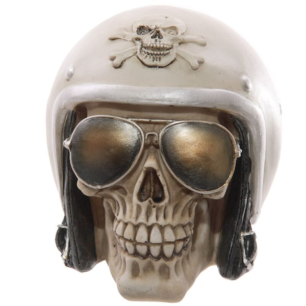 Skull with Sun Glasses and Helmet Ornament