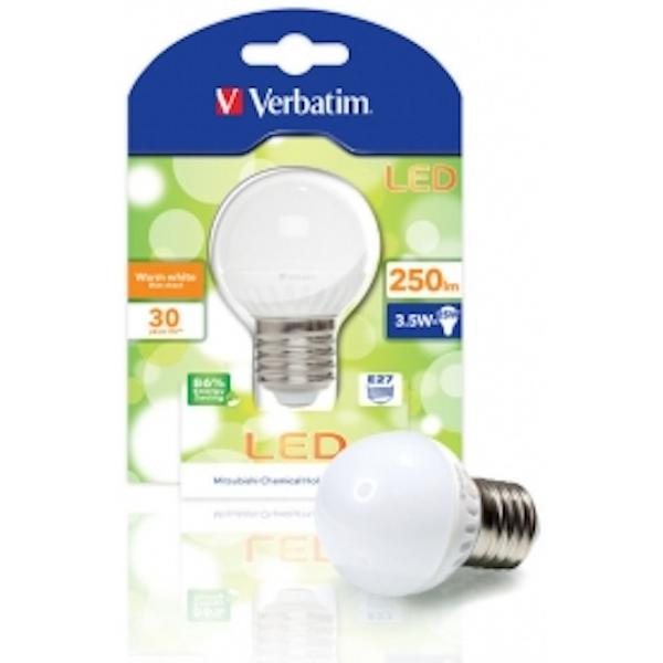 Verbatim 52135 LED Mini Globe E27 3.5W Light Bulb Energy Class A